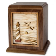 Coastal Lighthouse Wood Urn