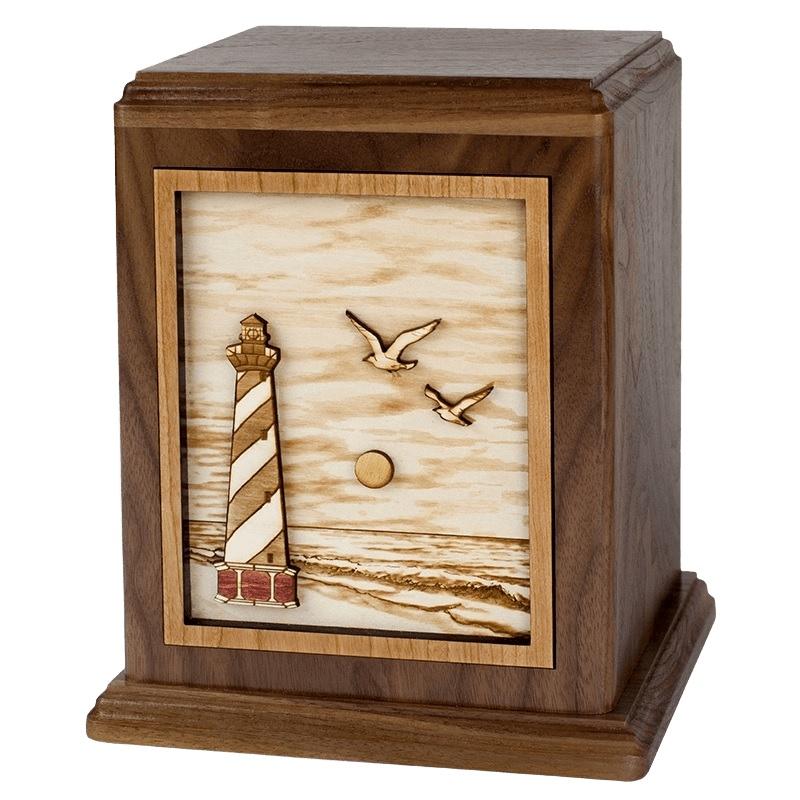 Coastal Lighthouse Wood Urn
