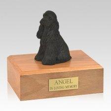 Cocker Spaniel Black Sitting Large Dog Urn