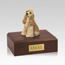 Cocker Spaniel Buff Sitting Medium Dog Urn