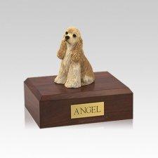 Cocker Spaniel Buff Sitting Small Dog Urn