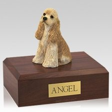 Cocker Spaniel Buff Sitting Dog Urns