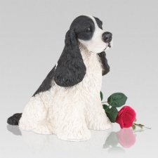 Black & White Cocker Spaniel Cremation Urn