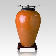 Raku Tall Coffee Cremation Urn