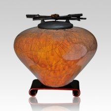 Raku Coffee Large Cremation Urn