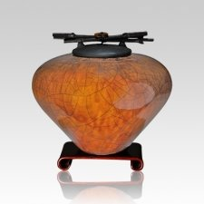 Raku Coffee Medium Cremation Urn
