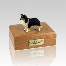 Collie Black White & Red Large Dog Urn