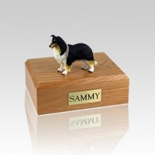 Collie Black White & Red Medium Dog Urn