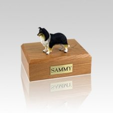 Collie Black White & Red Small Dog Urn