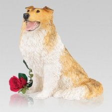Tan Collie Cremation Urn