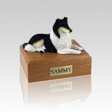 Collie Tri-Color Lying Medium Dog Urn