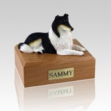 Collie Tri-Color Lying Dog Urns