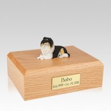 Collie Tri-Color Resting Large Dog Urn