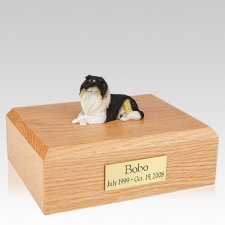 Collie Tri-Color Resting Dog Urns