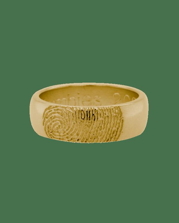 Partial Fingerprint Yellow Gold Ring
