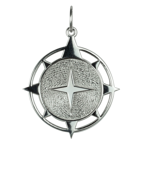 Compass Print Sterling Keepsake Pendant