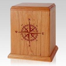 Compass Cherry Wood Cremation Urn