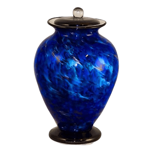 Coral Blues Glass Cremation Urn