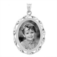 Cordon Silver Etched Pendant