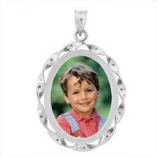 Cordon White Gold Photo Pendant