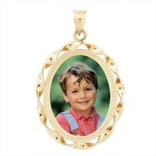 Cordon Yellow Gold Photo Pendant