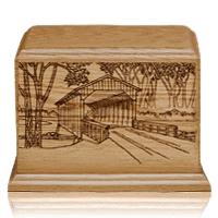 Covered Bridge Walnut Wood Urn