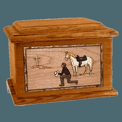 Cowboy Mahogany Memory Chest Cremation Urn