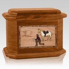 Cowboy Mahogany Octagon Cremation Urn