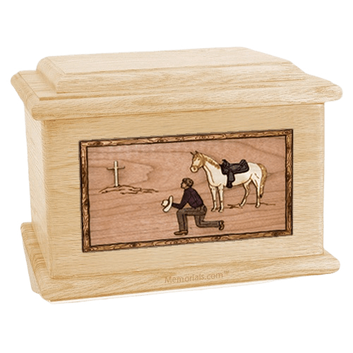 Cowboy Maple Memory Chest Cremation Urn