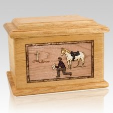 Cowboy Oak Memory Chest Cremation Urn