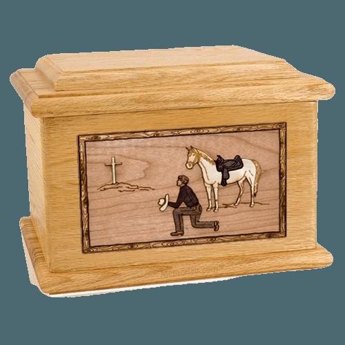 Cowboy Oak Memory Chest Cremation Urn