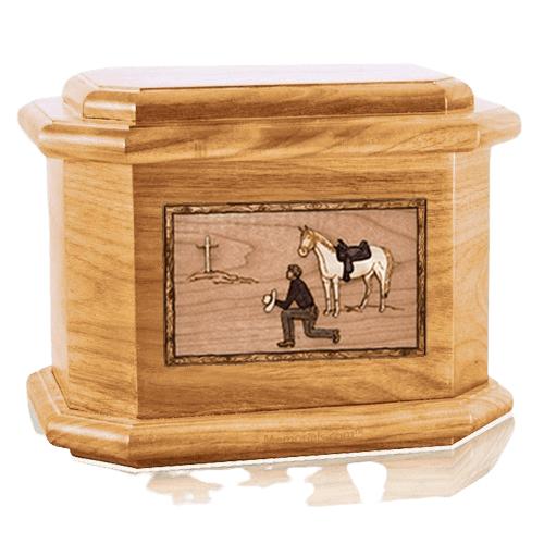 Cowboy Oak Octagon Cremation Urn