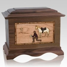 Cowboy Walnut Cremation Urn