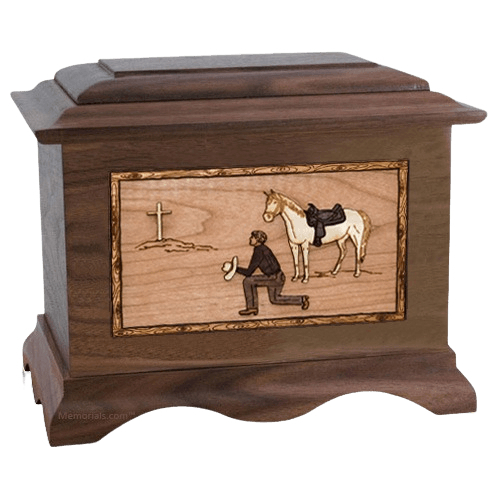 Cowboy Walnut Cremation Urn