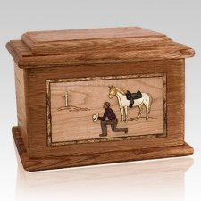 Cowboy Walnut Memory Chest Cremation Urn