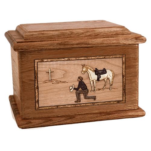 Cowboy Walnut Memory Chest Cremation Urn