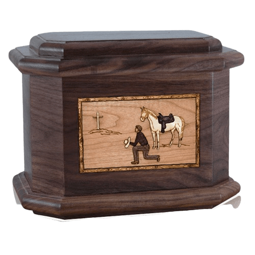 Cowboy Walnut Octagon Cremation Urn