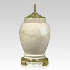 Cream Gold Tone Marble Cremation Urn