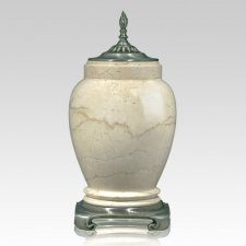 Cream Pewter Marble Cremation Urn