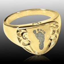 Crest 14k Gold Cremation Print Ring