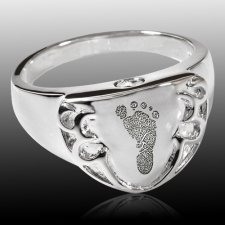Crest 14k White Gold Cremation Print Ring