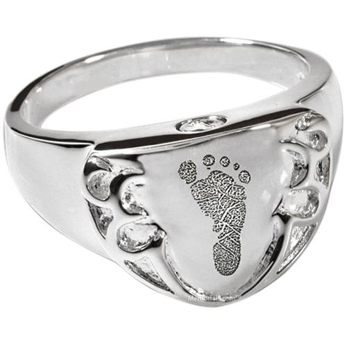 Crest 14k White Gold Cremation Print Ring