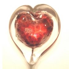 Crimson Heart Glass Cremation Keepsake