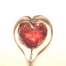 Crimson Heart Small Glass Cremation Keepsake