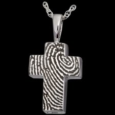 Cross 14k White Gold Cremation Print Keepsake