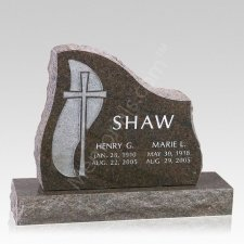 Cross Companion Granite Headstone