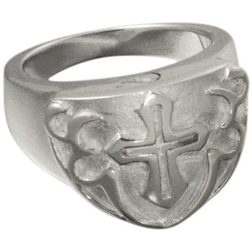 Cross Shield Cremation Ring III