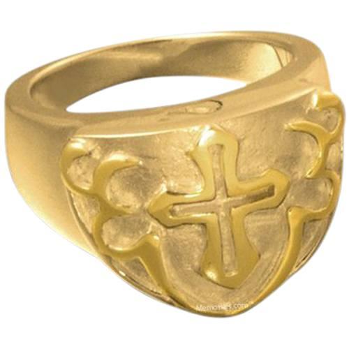 Cross Shield Cremation Ring II