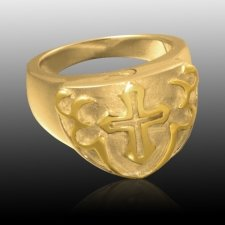 Cross Shield Cremation Ring IV