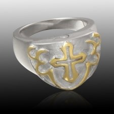 Cross Shield Cremation Ring